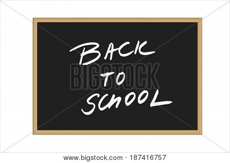 Vector illustration of black school board with handwritten text Back to school isolated on white background