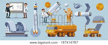 Space exploration elements collection with astronomer scientists astronaut rocket telescope planets cosmic vehicles station planetarium satellite isolated vector illustration