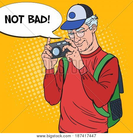 Senior Man Taking Picture with Photo Camera. Mature Tourist. Pop Art Vector illustration