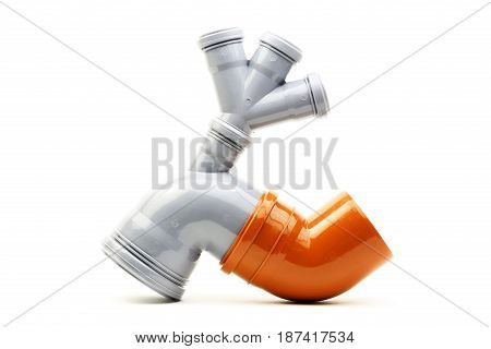 New drain pipe isolated on a white background