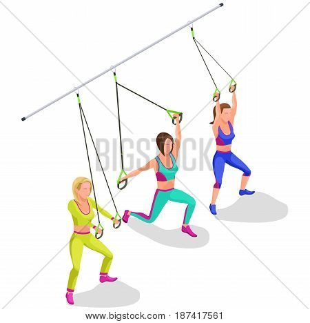 Isometric infographic illustration with group of girls doing suspension workout with straps, belts and other modern sports equipment