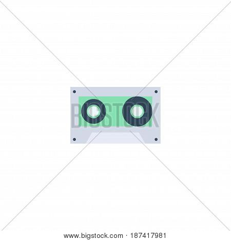 Flat Cassette Element. Vector Illustration Of Flat Tape Isolated On Clean Background. Can Be Used As Cassette, Tape And Music Symbols.