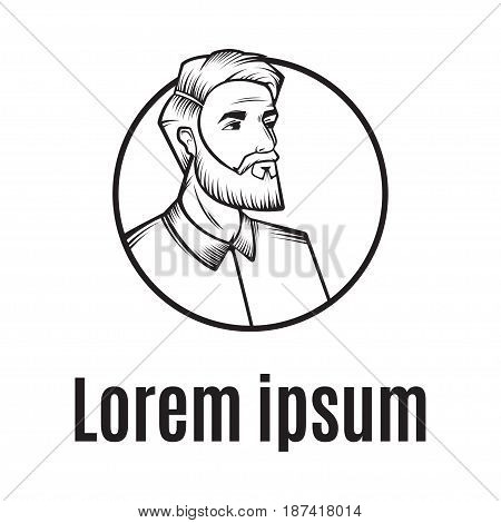 Barber Shop Logo Vector Template. For Label, Badge, Sign or Advertising. Hipster Man in circle, Hairdresser Logo. Hipster Silhouette. Hairstyle Man with Mustache and Beard.