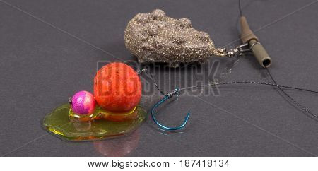Carp Hook Boilies With Dip . Closeup .
