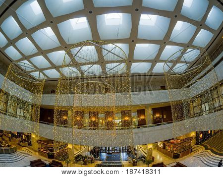MOSCOW RUSSIA - MAY 18 2017: Lobby interior of the President Hotel in Moscow Russia on May 18 2017. Hotel belongs to the Department of Affairs of the President of the Russian Federation.