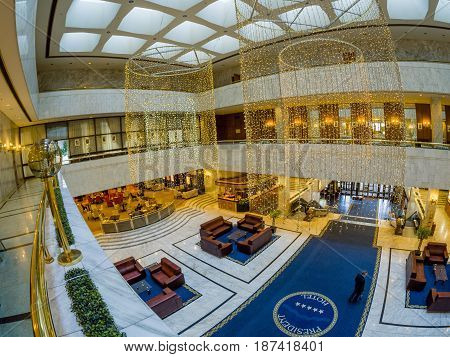 MOSCOW RUSSIA - MAY 18 2017: Top view lobby interior of the President Hotel in Moscow Russia on May 18 2017. Hotel belongs to the Department of Affairs of the President of the Russian Federation.