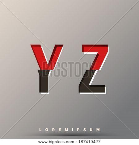 Alphabet font template. Set of letters Y Z logo or icon glitch design. Vector illustration.