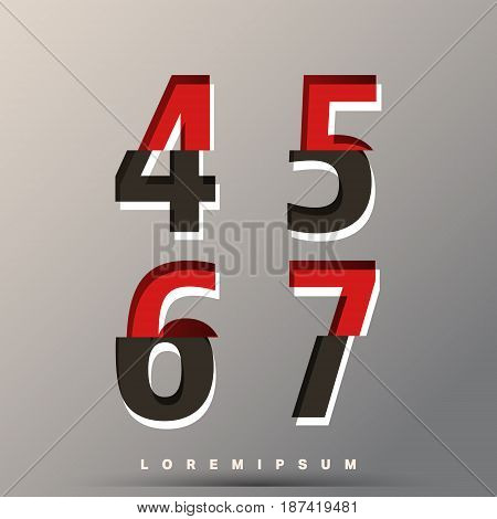 Alphabet font template. Set of of numbers 4 5 6 7 logo or icon glitch design. Vector illustration.