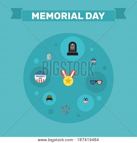 Flat Tomb, Decoration, Firecracker And Other Vector Elements. Set Of Memorial Flat Symbols Also Includes Memorial, Usa, Medallion Objects.
