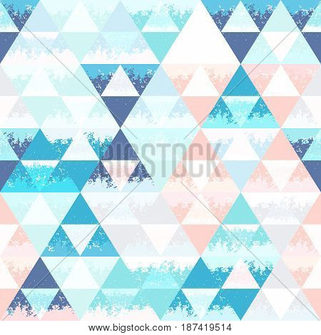 Abstract seamless background with triangles. Grange texture. Shades of blue.