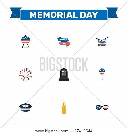 Flat Hat, Firecracker, Spectacles And Other Vector Elements. Set Of Memorial Flat Symbols Also Includes Spectacles, Tomb, Rip Objects.