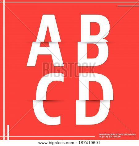 Alphabet font template. Set of letters A B C D logo or icon cutting paper design. Vector illustration.