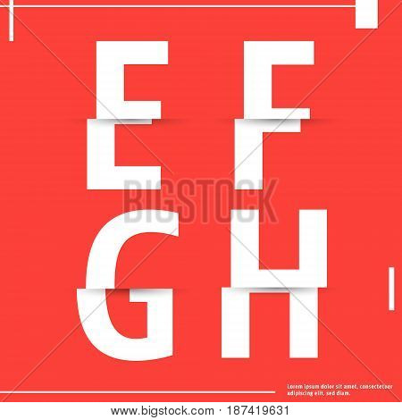 Alphabet font template. Set of letters E F G H logo or icon cutting paper design. Vector illustration.