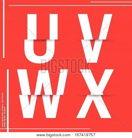 Alphabet font template. Set of letters U V W X logo or icon cutting paper design. Vector illustration.