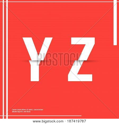 Alphabet font template. Set of letters Y Z logo or icon cutting paper design. Vector illustration.