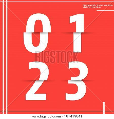 Alphabet font template. Set of numbers 0 1 2 3 logo or icon cutting paper design. Vector illustration.