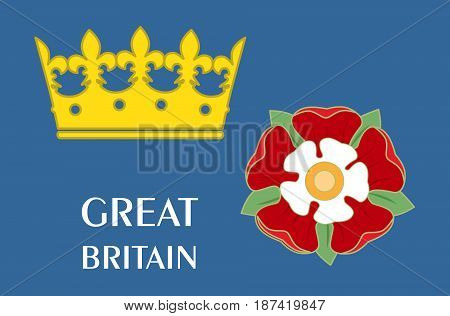 Set with the symbols of the Great Britain and the Tudors.