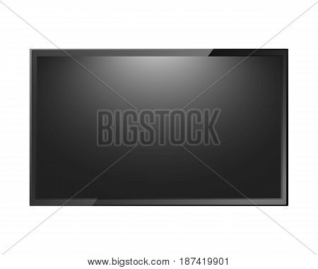 Modern TV blank screen isolated on white background. Lcd led display computer monitor. Vector illustration.