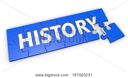 History sign and text on blue jigsaw puzzle 3D illustration on white background.