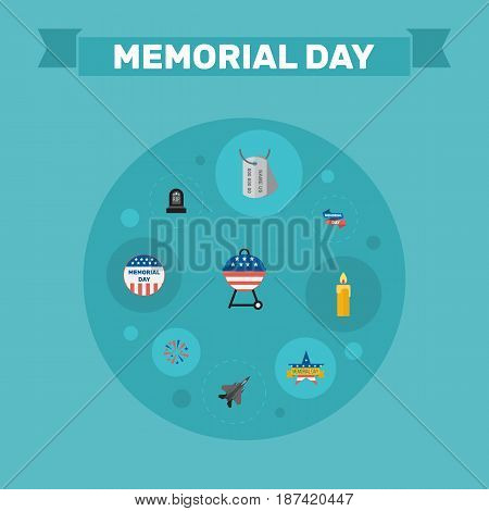 Flat Ribbon, Tomb, Firecracker And Other Vector Elements. Set Of Memorial Flat Symbols Also Includes Aircraft, Memorial, Firecracker Objects.