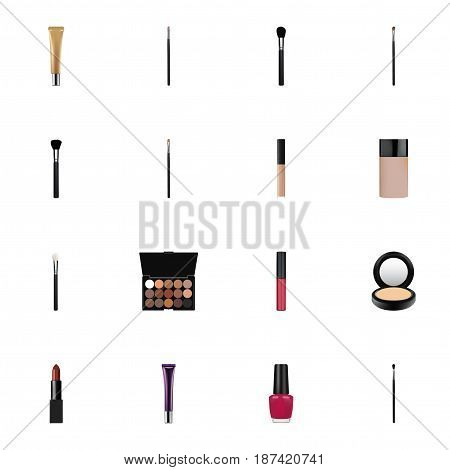 Realistic Fashion Equipment, Pomade, Day Creme And Other Vector Elements. Set Of Greasepaint Realistic Symbols Also Includes Nail, Cosmetic, Multicolored Objects.