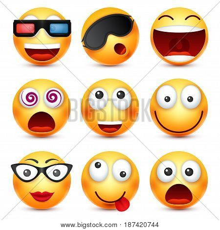 Smiley set with 3d glasses, smiling emoticon. Yellow face with emotions. Facial expression. 3d realistic emoji. Funny cartoon character.Mood. Web icon. Vector illustration.