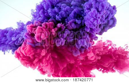ink color splash in water - two color mix background