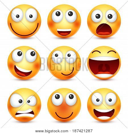 Smiley set, smiling emoticon. Yellow face with emotions. Facial expression. 3d realistic emoji. Funny cartoon character.Mood. Web icon. Vector illustration.