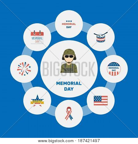 Flat Awareness, Musical Instrument, Holiday And Other Vector Elements. Set Of Memorial Flat Symbols Also Includes Calendar, American, Holiday Objects.