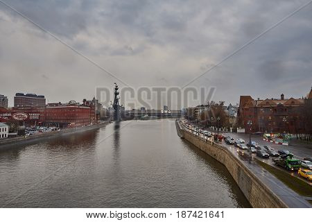 Moscow River Day Time View, Cloudy Weather