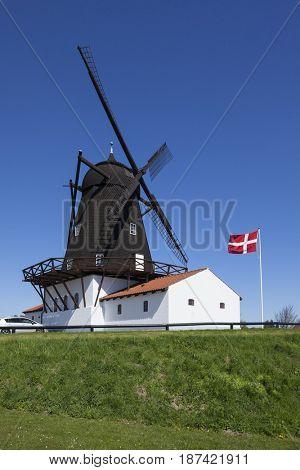 Historic windmill containing museum at Grenaa, Djursland peninsula, Jutland, Denmark