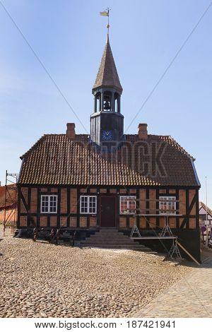 Restoration of the historic town hall of Ebeltoft, Jutland, Denmark