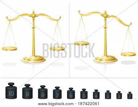 Scale for maths and physics - calculate with ten different weights and learn counting and addition - place them on the balanced or unbalanced pans - isolated vector illustration on white background.
