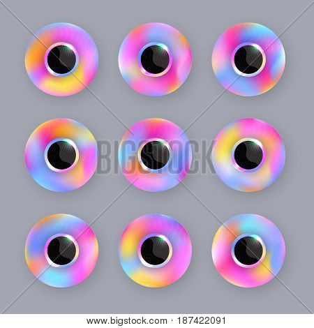Round iridescent buttons with blur effect and glare of light. Trendy  rainbow design. Set, collection. Elements for design with a place for numbers or signs. Vector EPS10.