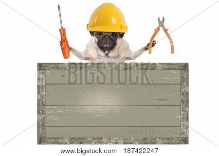 pug dog holding pliers and screwdriver behind blank old wooden sign isolated on white background