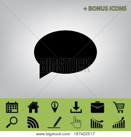 Speech bubble icon. Vector. Black icon at gray background with bonus icons