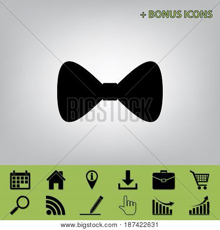 Bow Tie icon. Vector. Black icon at gray background with bonus icons