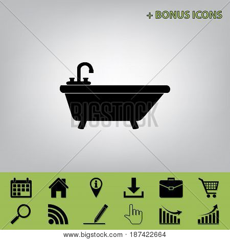 Bathtub sign illustration. Vector. Black icon at gray background with bonus icons