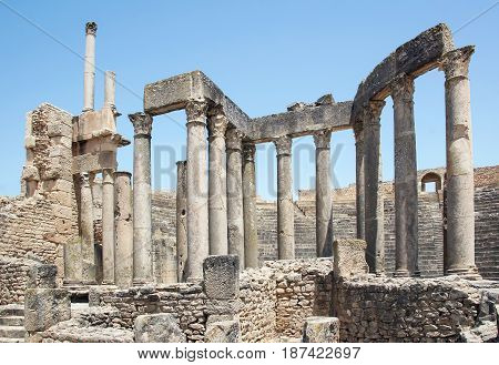 Roman Theatre in Dougga - the former capital of Numidia. Tunisia