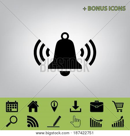 Ringing bell icon. Vector. Black icon at gray background with bonus icons