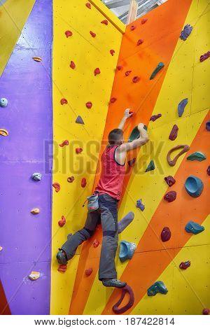 Climber Man Climbing Up