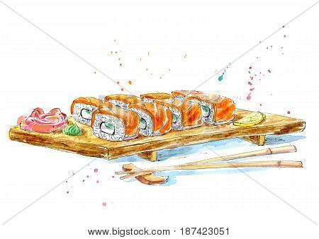 Philadelphia roll.Picture of a Asian food.Sushi, ginger and wasabi on a wooden board.Watercolor hand drawn illustration.