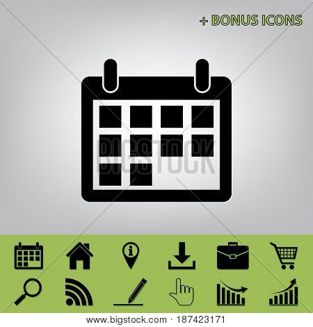 Calendar sign illustration. Vector. Black icon at gray background with bonus icons