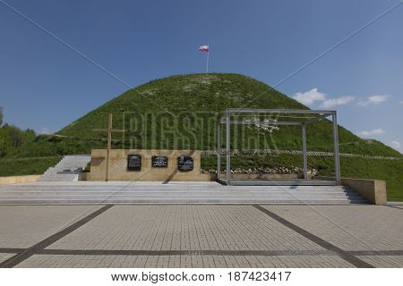 Piekary Slaskie Poland - May 14 2017: Mound of Liberation - a mound in Piekary Slaskie cast in 1932-1937 symbol of struggle for Polishness and a memorial of the fight of Silesian insurgents