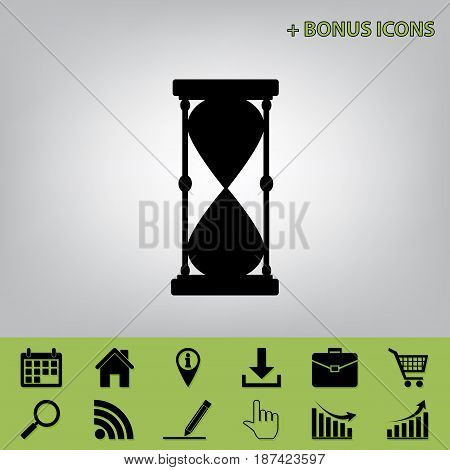 Hourglass sign illustration. Vector. Black icon at gray background with bonus icons