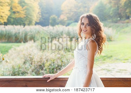 Beautiful Young Bride With Long Curly Hair