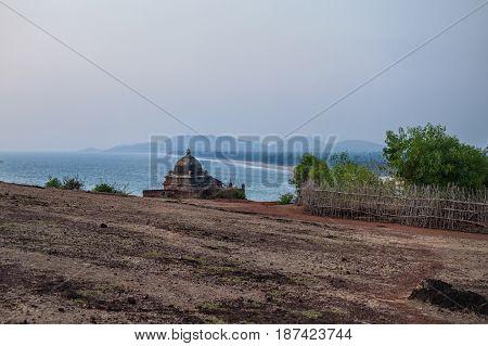 Small Hindu temple on the ocean. Gokarna India