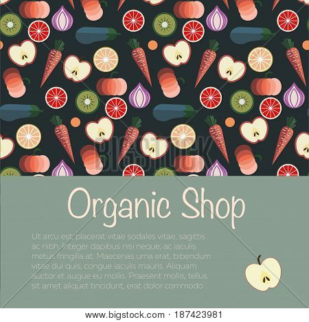 Fruits and Vegetables pattern vector illustration. Logo concept. Ideal in food markets, restaurant industry