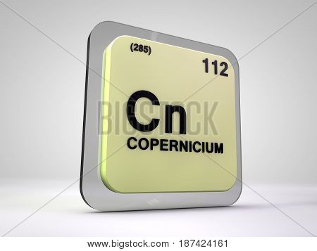 copernicium - Cn - chemical element periodic table 3d illustration