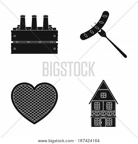 Box with beer, fried sausage, heart of the festival, Bavarian cottage. Oktoberfestset collection icons in black style vector symbol stock illustration